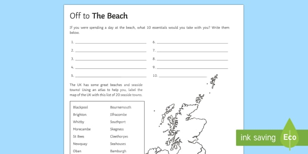 To the Beach! Activity Sheet - Geography Club, beach, coasts, resorts, UK, tourism, travel. worksheet
