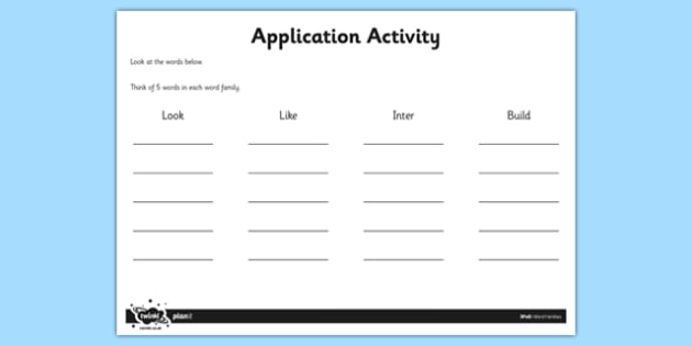Word Families Application Activity Sheet - GPS, spelling, prefixes, suffixes, root, worksheet