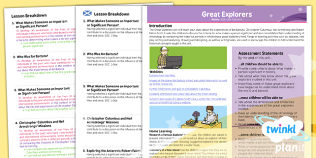PlanIt History KS1 Great Explorers Planning Overview CfE - KS1, key stage 1,history, topic, planning, resources, unit, scottish, curriculum for excellence, comparison