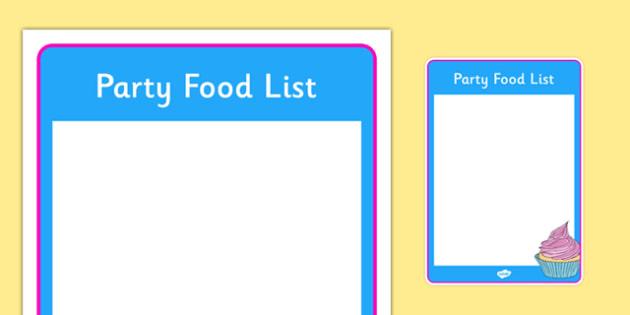 Editable Birthday Party Food List - Birthdays, food list, food, party food, cake, balloons, happy birthday, birthday role play