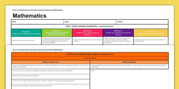 EYLF and Australian Curriculum Outcome Overview Mathematics - EYLF, Australian Curriculum, Planning, Mathematics, Foundation