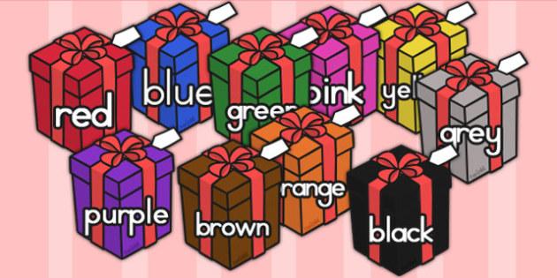 Australia Colour Words On Christmas Presents - colours, keywords, christmas