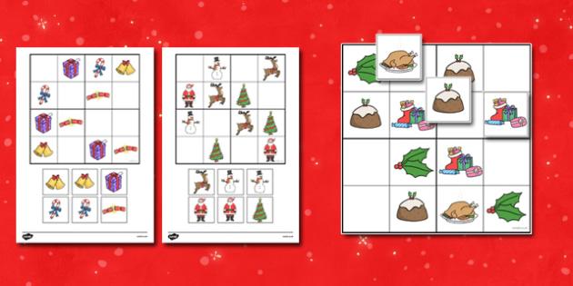 Christmas Picture Sudoku - christmas, xmas, sudoku, games, puzzles, puzzle, christmas puzzle, christmas game, picture game, fun, wet play, activity