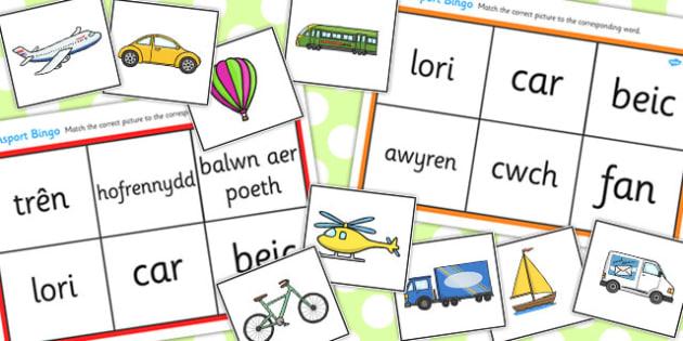 Bingo 'Cludiant' - transport, bingo, welsh, cymraeg