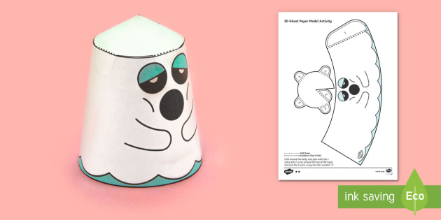Simple 3D Halloween Ghost Activity Paper Craft