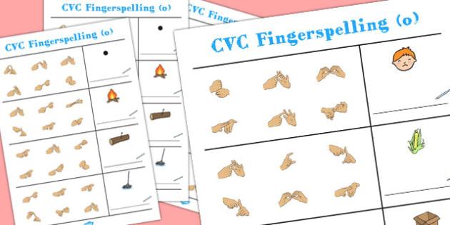 CVC Spelling Worksheets with British Sign Language 'o' - cvc