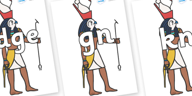 Silent Letters on Egyptian Gods - Silent Letters, silent letter, letter blend, consonant, consonants, digraph, trigraph, A-Z letters, literacy, alphabet, letters, alternative sounds