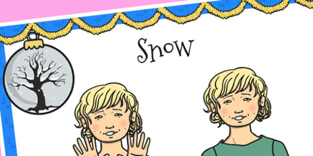 A4 British Sign Language Sign for Snow - sign language, snow