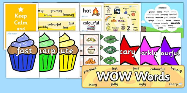 Wow Words Resource Pack - wow words, resource pack, resources, wow words pack, pack of resources, literacy, english, words, descriptive words, description