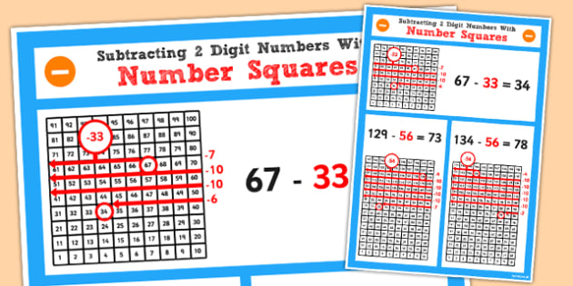 Year 2 Subtracting 2 2 Digit Numbers and Tens Using Number Square