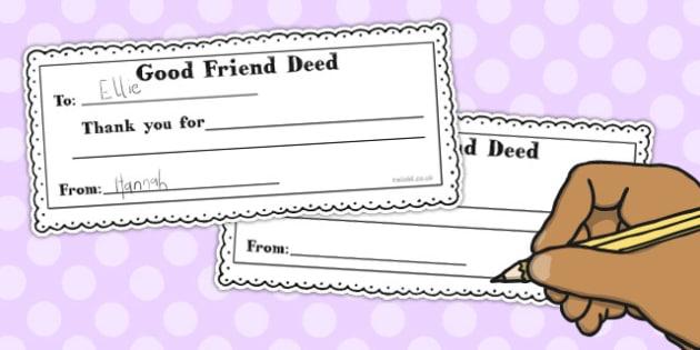 Good Friend Deed Slip and Box Label - good, friend, deed, label