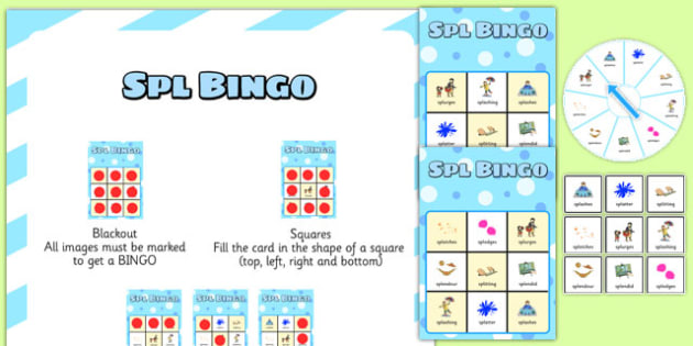SPL Spinner Bingo - speech sounds, phonology, articulation, speech therapy, cluster reduction, complex clusters, three element clusters