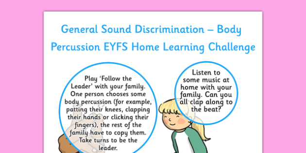 General Sound Discrimination Body Percussion EYFS Home Learning Nursery FS1 - general, sound, discrimination