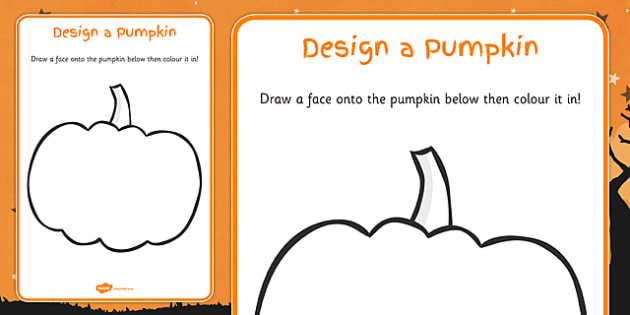 Design a Pumpkin Carving Worksheet - Halloween, pumpkin , witch, bat, scary, black cat, mummy, grave stone, cauldron, broomstick, haunted house, potion, Hallowe'en
