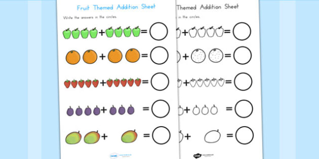 Fruit Themed Addition Sheet - fruit, numeracy, add, adding, maths