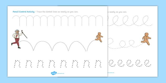 The Gingerbread Man Pencil Control Activity Sheets - gingerbread man