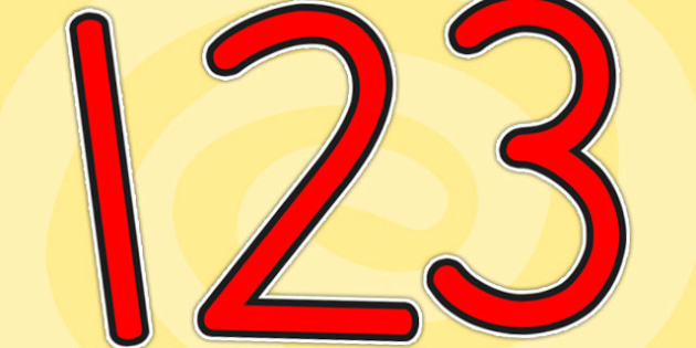 Red Display Numbers - numbers, display numbers, red numbers