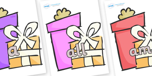 Foundation Stage 2 Keywords on Presents - Gifts - FS2, CLL, keywords, Communication language and literacy,  Display, Key words, high frequency words, foundation stage literacy, DfES Letters and Sounds, Letters and Sounds, spelling
