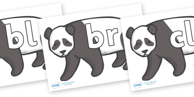 Initial Letter Blends on Pandas - Initial Letters, initial letter, letter blend, letter blends, consonant, consonants, digraph, trigraph, literacy, alphabet, letters, foundation stage literacy