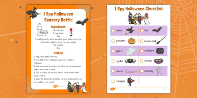 I Spy Halloween Sensory Bottle and Activity Pack - sensory bottle, halloween, I spy, activity, pack, eyfs, early years