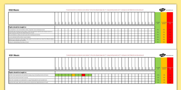KS1 and KS2 Music Assessment Spreadsheet - ks1, ks2, music, assessment spreadsheet