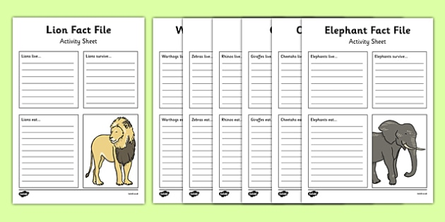 African Animals Fact File Activity Sheet - african animals, african, animals, activity, sheet, worksheet