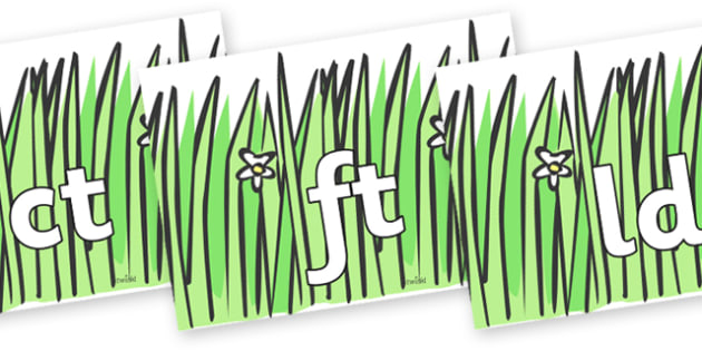 Final Letter Blends on Wavy Grass - Final Letters, final letter, letter blend, letter blends, consonant, consonants, digraph, trigraph, literacy, alphabet, letters, foundation stage literacy