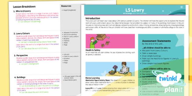 PlanIt - Art KS1 - LS Lowry Planning Overview - ls lowry, planit
