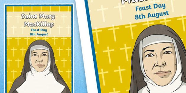 Saint Mary MacKillop Feast Day Display Poster-Australia