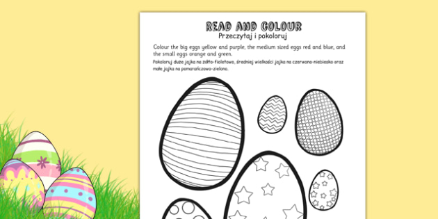 Easter Egg Read and Colour Activity Sheet Polish Translation - polish, easter, easter egg, worksheet