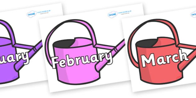 Months of the Year on Watering Cans - Months of the Year, Months poster, Months display, display, poster, frieze, Months, month, January, February, March, April, May, June, July, August, September