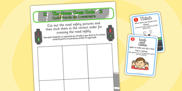 Safe Road Safety Crossing Sequencing Romanian Translation - road, safety, transport, travel, vehicles, cars, safe, pshe