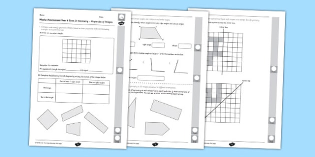 Year 4 Maths Assessment: Geometry - Properties of Shapes Term 3 - year 4, maths, assessment, geometry