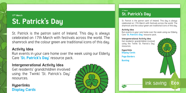 St. Patrick's Day Adult Guidance - Calendar Planning March 2017, Activity Co-ordinators, Support, Ideas, Elderly Care, St. Patrick's D