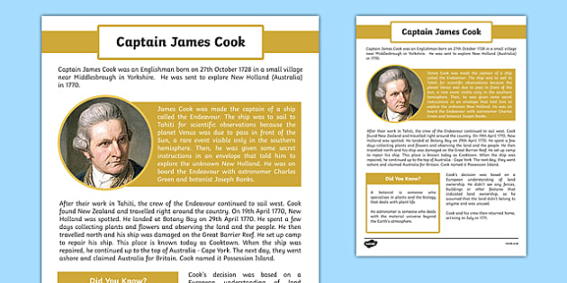 The First Fleet Captain James Cook Information Sheet - australia, The First Fleet, Captain James Cook, Captain Cook, voyage, information sheet, information