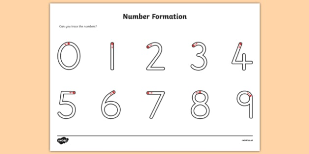 Number Formation Worksheet - number formation, numbers, tracing