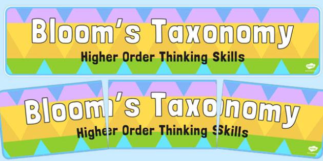 Bloom's Taxonomy Higher Order Thinking Skills Display Banner - display