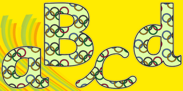 The Olympics Olympic Rings Themed Display Lettering - the olympics, rio olympics, 2016 olympics, rio 2016, olympic rings, display lettering