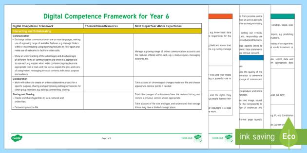 Digital Competence Framework Year 6 Planning Template