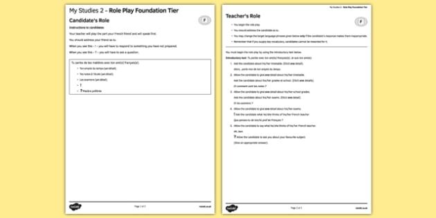 Mes études 2 Jeu de rôle Foundation Tier - french, Studies, education, études, éducation, role play, foundation, speaking
