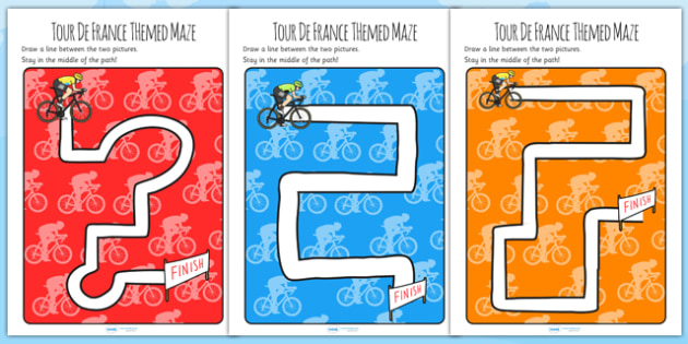 Tour de France Themed Mazes - le tour, sport, games, motor skills