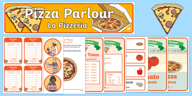 Pizza Parlour Role Play Pack English/French - Pizza Parlour Role Play Pack, role play, pizza, shop, money,French-translation