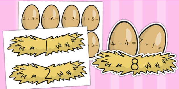Eggs and Nest Themed Addition to 10 Activity - easter, adding