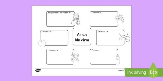 Ar an bhFeirm Sensory Activity Sheet Gaeilge