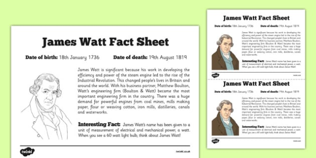 Scottish Significant Individuals James Watt Fact Sheet - CfE, significant individuals, engineering, steam engine, horsepower, watt, science, inventions, inventor, curriculum, excellence