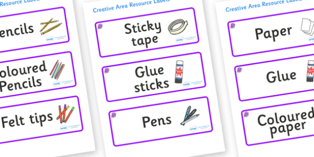 Amethyst Themed Editable Creative Area Resource Labels - Themed creative resource labels, Label template, Resource Label, Name Labels, Editable Labels, Drawer Labels, KS1 Labels, Foundation Labels, Foundation Stage Labels