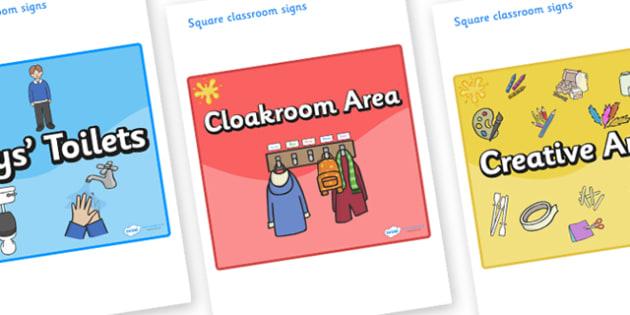 Orange Themed Editable Square Classroom Area Signs (Colourful) - Themed Classroom Area Signs, KS1, Banner, Foundation Stage Area Signs, Classroom labels, Area labels, Area Signs, Classroom Areas, Poster, Display, Areas