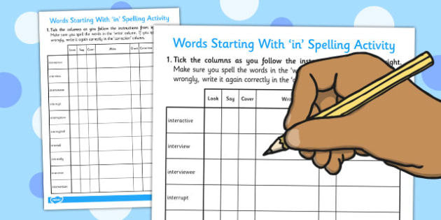 Look, Say, Cover, Write, Check Worksheet for Words Beginning With 'inter'