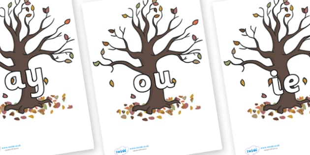 Phase 5 Phonemes on Autumn Trees - Phonemes, phoneme, Phase 5, Phase five, Foundation, Literacy, Letters and Sounds, DfES, display