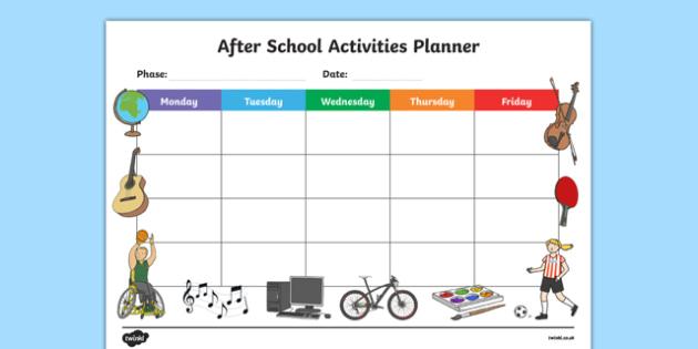After School Activities Planner-after school activites, planner, after school planner, activities planner, games, activities, planner, after school